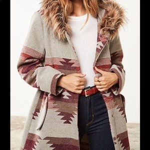 BB Dakota Aztec Coat with faux fur hoodie